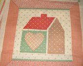 FABRIC SQUARE cotton house MAUVE AND GREEN 8 by 8 inches