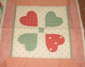 FABRIC COTTON square 4 hearts mauve and green 8 by 8 inches