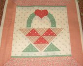 FABRIC COTTON SQUARE mauve green basket hearts 8 by 8 inches