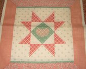 FABRIC COTTON SQUARE  star heart mauve green 8 by 8 inches