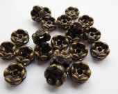 top quality 200pcs 6mm  rondelle crystal rhinestone  spacer tone, bronze green flower mixed