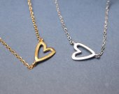 Sideways Open Heart Necklace in gold silver