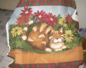 FABRIC PANEL ATTACK CAT ON DUTY cotton 28 by 36 inches