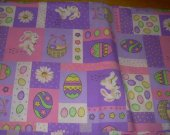 FABRIC EASTER PURPLE WHITE PINK  44 by 72 inches rabbits eggs flowers