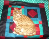 FABRIC PANEL CAT teal black red 16 by 16 inches