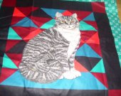 FABRIC PANEL CAT gray tabby teal black red 16 by 16 inches