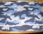 FABRIC FLANNEL blue camouflage dogs 28 by 40 inches