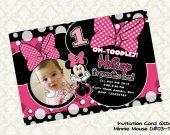 Disney MINNIE MOUSE Pink (with photo) Birthday Party Invitation - DIY Printable