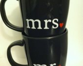 Set of Mr. &amp; Mrs. Coffee Mugs with Hearts