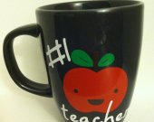 Number 1 Teacher Coffee Mug With Apple
