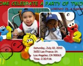 Sesame Street Birthday Invitation W/Photo - Sesame Street printables 4x6/ 5x7 Digital File Design 1