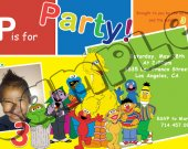 Sesame Street Birthday Invitation W/Photo - Sesame Street printables 4x6/ 5x7 Digital File Design 4