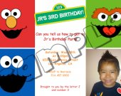 Sesame Street Birthday Invitation W/Photo- Sesame Street printables 4x6/ 5x7 Digital File Design 5