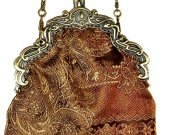 Victorian Style Evening Bag in Brown and Gold