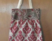 Large Red Printed Tote