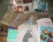 HUGE CRAFT LOT stencils, needle point, tracing paper, 2 cross stitch kits