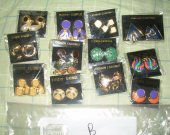 EARRINGS lot of 12 metal, enamel , silver toned, gold toned , MULTI-COLORED NEW