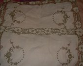 VINTAGE TABLE TOP CLOTH BROWN  off white 10 by 15 inches used EMBROIDERED