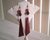 Wofu wood dangles earrings.
