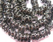 100pcs 6mm  rondelle crystal rhinestone  spacer tone black jet mixed