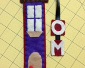 handmade  Bookmark personalized with the first and second letter of your name in felt in the form of a nice house