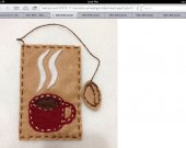 beautiful bookmark   Cup of coffee in red wine  handmade in felt