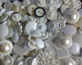 200 bulk buttons / mix bag with white and pearls plastic buttons , best seller