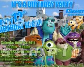 Monsters University Personalized 4x6 Birthday Party Invitations - Style 5