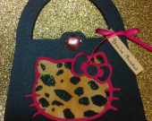 8 Hello Kitty Leopard Cheetah Print Purse  handmade Custom Personalized Invitations