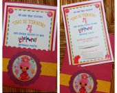 Set of 10 Lalaloopsy Custom Handmade Birthday Invitations with Envelopes