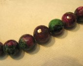 high quality genuine ruby zoisite epidote  gemstone round ball handmade faceted  jewelry bead bracelet  8mm 8inch/L