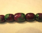 high quality genuine ruby zoisite epidote  gemstone  handmade barrel egg faceted  jewelry bead necklace 6-14mm 17inch/L