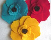 set 3 Giant Eco Felt Poppies Embellishment Appliques