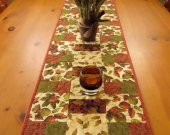 Quilted Table Runner, Patchwork Table Runner, Handmade Table Runner Leaves