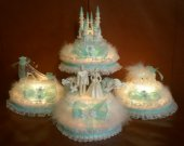 4 pc. Wedding cinderella castle slipper  carriage  light   cake topper in baby blue