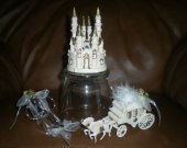 3.pc,  wedding quinceanera    supplies cinderella castle slipper  carriage   In gold  cake topper
