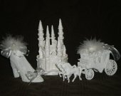 3 pc. Wedding quinceanera  supplies cinderella castle slipper  carriage   In white  cake topper