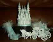3.pc   wedding  quinceanera supplies cinderella castle slipper  carriage   In baby blur   cake topper