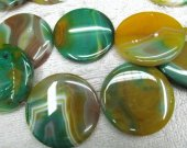 high quality  batch genuine agate gemstone square roundel coin  green yellow veins jewelry beads focal 40mm 14pcs