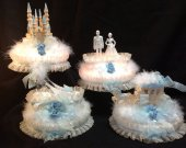 4.pc wedding . cinderella castle slipper  carriage and wedding couple   lighted   cake topper  ivory and baby blue