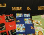 BABY QUILTS with Machine embroidered character to match material