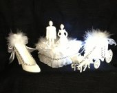 3  pc, ,  Wedding   cinderella  carriage  slipper and  wedding couple   cake topper in  white