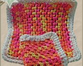 Handmade Dish Cloth Set of 2 Sherbert