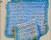 Tunisian Crochet Dishcloth Set of 2 Bright Blue