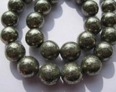 bulk genuine pyrite  beads 16mm 2strands  ,high quality  iron gold  round  ball smooth gemstone jewelry beads