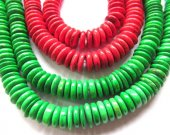 bulk turquoise stone  button rondelle red  green olive mixed  jewelry  beads 10mm--4strands 16inch/per strand