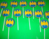 Batman Emblem Cupcake toppers Great for super hero party