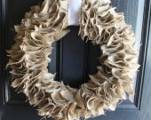 Natural burlap wreath with white ribbon