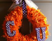 Orange Burlap Wreath - Clemson University