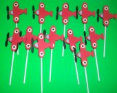 12 Red Propeller airplane cupcake toppers